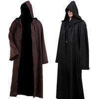 Unisex black hooded robes - Hooded cloak cape Halloween Costume Coat Star Wars Jedi Cosplay Robe Apparel Hot