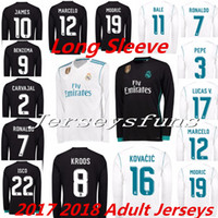 Men spandex shirts - 2017 Real Madrid men long sleeve soccer Jerseys RONALDO White Blue SERGIO RAMOS JAMES BALE RAMOS ISCO MODRIC Benzema football shirts