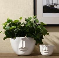 Wholesale Design Ceramic Vase - Pure Handmade Porcelain Two Size Face Shape Vases Interior Design Pot Luxury Modern Style Decorative Ceramic Art Vase White Color Home Déc