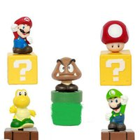 Wholesale Wholesale Collectable Dolls - 5 Type Super Mario Mushroom Mini Figure Sets Dolls PVC Plastic Action Figures Toys collectable Dolls minifigures Kids Chiristmas Gift 100168