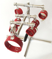 Wholesale Stainless Steel Female Wrist Restraints - 2017 new Top metal stainless steel bondage restraints stand with anal plug leg ankle cuffs fetish slave torture device spreader bar frame
