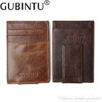 Wholesale Vintage Money Clips - Genuine Leather Mini Vintage Cluth Wallet Clamp for Money Clip Front Pocket Men's Wallet Card Portfolio Men Vintage Porte Cartes