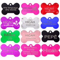 Wholesale Laser Pet Tags - 2pcs lot Personalized Pet ID Tag Customized Dog ID Tag Laser engraving dog Cat Tag Identification Free Engraved
