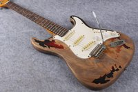 Wholesale Strat Guitar White - Collectable Custom 1961 Rory Gallagher Tribute ST Strat ocaster Extremely Relic 3 Tone Sunburst Electric Guitar Alder Body White Pickguard