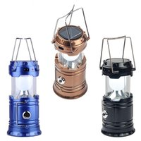 Wholesale Solar Survival - LED Camping Lantern Collapsible Lanter Outdoor Survival Ultra Bright Rechargeable Solar Lamp Emergency Flashlight for Fishing Hiking Hunting