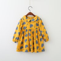 Wholesale Heart Collar Dress - Girls Heart Dresses Baby Girl Ruffles Long sleeve Dress Kids Girls Fashion Autumn Clothes 2017 Kids Korean Clothing