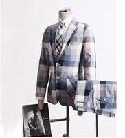 Wholesale Leisure Slim Plaid Suit - New 2017 spring and summer fashion men's blazer set plus size slim men Leisure thin plaid suit ( suit +Shorts)   S-3XL