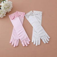 Wholesale Wholesale White Dress Gloves - Female child flower girl child formal dress princess dress costume accessories white lace bow gloves