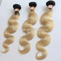 karanlık sarışın vücut dalga saç toptan satış-Bazilian İnsan Koyu Kök Sarışın Saç Vücut Dalga remy İki Ton 1b 613 Bakire atkı Saç 10
