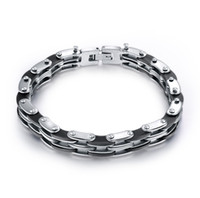 Wholesale Cycle Chain Bracelet - Jewelry wholesale, titanium steel stainless steel silicone cycling bracelet Men's motorcycle chain bracelet, free shipping