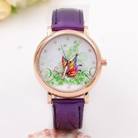 Wholesale Wholesale Drilled Quartz Leather - Fashion watches vine maple leaf butterfly drill quartz luxury rhinestone watches women casual PU leather ladies gold shell Wristwatches gift