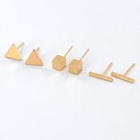 neuer würfel großhandel-Wholesale einfache neue einfache Bar Dreieck Würfel Form geometrische Ohrringe Gold Silber vergoldet Mode Ohrring Schmuck Frauen Geschenk EFE046