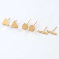 Wholesale Triangle Shape Earrings Studs - Wholesale Simple New Simple Bar Triangle Cube Shape Geometric Earrings Gold Silver Gold Plated Fashion Earring Jewelry Women Gift EFE046