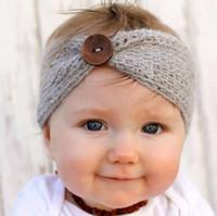 ingrosso vendita turbanti per bambini-Vendita calda inverno lana a maglia fascia neonate bambini neonato fascia testa avvolgere turbante copricapo con accessori per capelli pulsante all'ingrosso