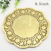 "Wholesale Gold Doilies Wholesale - Wholesale- Creative Craft 8.5"" Inch Round Gold Paper Lace Doilies Cake Placemat Party Wedding Gift Decoration 20pcs pack"