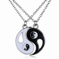 Wholesale Tai Chi Charms - 2 pcs set New Design Tai Chi BFF Lovers Necklace Best Friends Forever Pendant Necklace Wholesale Jewelry For Women Men Best Gift
