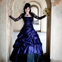 victorian corset sexy plus al por mayor-Victorian Gothic Plus Size Vestidos de novia de manga larga Sexy Purple y negro Ruffles Satén Corsé sin tirantes de encaje Vestidos de novia más el tamaño 2017