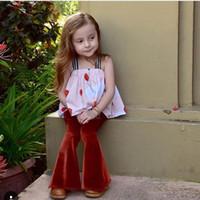Wholesale Harem Velvet - Ins 2017 New Fashion Baby Girl Pants Velvet Flare Boot Cut Full Length Trousers Children Clothing T17002 Not Have Belt