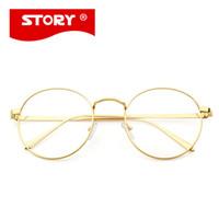 Wholesale Korean Eyeglasses - Korean Glasses Frame Retro Full Rim Gold Eyeglass Frame Vintage Spectacles Round Computer Glasses Unisex NO Degrees