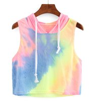 Wholesale T Shirts Tie Dyed - Wholesale- 2017 New Hot T-Shirts Women Summer Fashion Sexy Tie dye Print Hooded Crop Sleeveless Short T-Shirt Tops Shirt Plus Size femme