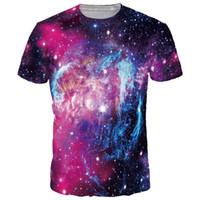 Wholesale Ice Fire T Shirt - 3D T shirts Space Galaxy T-shirt Men women Fashion 3d Tshirts Print Ice Fire Stars Hot T-shirt Summer Tops Tees