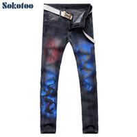 Wholesale Pants Dragon Prints - Wholesale- Sokotoo Men's fashion Chinese dragon print black denim jeans Casual slim straight pants for man