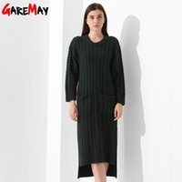 Wholesale Hi Lo Sweater - Women Knitted Sweater Dress With Pocket Vestido Manga Longa O Neck Long Sleeve Pullovers Thick Sweater Knitwear Clothing GAREMAY