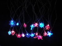 Wholesale Glow Led Toys Rose - LED flash glow necklace necklace Flashing pendant Luminous toys wholesale