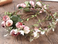 Lady Girls Bride Flower Headband Floral Head Wreath Femmes Beach Headband Floral Hair Garlands Bohemia Beach Flower HairBands BD045