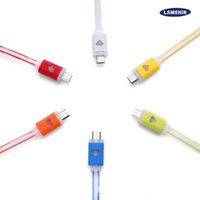 Wholesale smiley lights - LED Light Micro USB cable V8 Data Cable LED Color Light Data Smiley Flashing Cable 1M 3FT Noodle Streamer Charging Cords