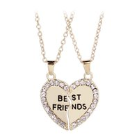 Wholesale Couples Half Heart Pendants Necklaces - Fashion Friend Forever Series Two-color Gold And Sterling silver Plated Pendant Necklace One Half And A Half Girlfriend Women Men Couple