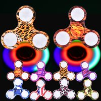 Wholesale Fingertip Lights - LED Fidget Spinner Camouflage Camo 8 Colors Colorful ABS EDC Spinners with light Gyro Cross Style Hand Tri Fingertip With Retail OTH469