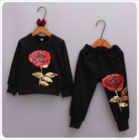 Wholesale Mo Pants - 2017 New Spring Autumn Girls Tracksuits Children Rose Flower Embroidered Casual Sets Kids Sportswear Fashion Girl T-shirt+Pants 2pcs Suits