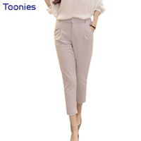 Wholesale Korean High Waisted Women Harem Pants Skinny Zipper Pants Loose Suit Trousers Solid Slim All match Elegant Capris Fitness Hot