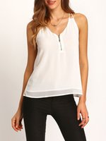 Canottiere da donna Camis White Canotte Sexy Lace Fashion Halter V Collar Sled Chiffon Shirt Top