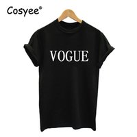 Wholesale Stylish White Shirts For Women - Wholesale-VOGUE White Black Letter Printed Women's New Hipster Hot Sale Stylish Harajuku Cotton Top T Shirt For Lady's Tees Free Shipping