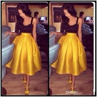 Wholesale tea length ball skirts - Vestidos 2017 Two Piece Cocktail Party Dresses Tea Length Yellow Skirt Dress Spaghetti Straps Open Back Ball Gown Homecoming Prom Dress