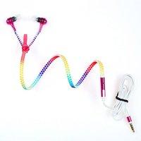 Wholesale Glow Dark Rainbow - Wholesale Glow Headphone Luminous Light Rainbow Zipper Earphone Glow In The Dark Headphones Headset for Iphone Samsung Auriculares