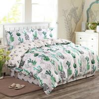 Wholesale home classics duvet cover - Wholesale- Russia Classic Lmitate Silk Feel Satin-like Cotton Fabric Plain Green Cactus Bedding Set Duvet Cover Set Bedclothes Bed Sheet