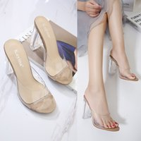 Wholesale New arrival women high heels sandals transparent shoes for lady summer chunky heel slippers casual shoes