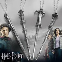 Wholesale Harry Necklace - Harry Movie Inspired Magic Wand Pendant Necklace Antique Bronze Silver for Potter Head Gift