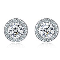 Wholesale white women costume for sale - 18K White Gold Plated Cut Four Claws Zircon CZ Full Paved Clear Crystal Round Stud Earrings Costume Party Jewelry for Women Girls Hot Gift