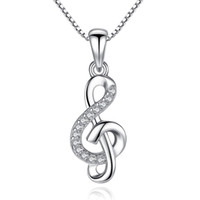 BELAWANG Atacado Clássico 925 Sterling Silver Note Pingente Pingentes Clear CZ Necklace For Women Fashion Engagement Wedding Jewelry