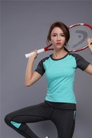 Multicolor Mulheres Yoga Outfits Sportswear Tracksuit Sport Running Shirt Top Quick Dry Patchwork Tights Fitness Short Sleeve T-Shirt
