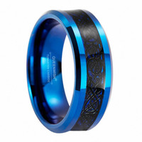 Queenwish 8mm Blue Tungsten Carbide Ring Black Celtic Dragon Inlay Mens Ring Jóias Wedding Bands Promise Rings for Men Moda Jóias