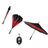 Wholesale Adult Graphics - Creative Reverse Wireless Bluetooth Umbrella with Selfie Stick Inverted Rain Protection Umbrella Graphic Windproof Car Umbrella