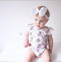 Wholesale Owl Print Ribbon - INS popular baby girls rompers set cotton owls printed one-piece jumpsuits+white ribbon big bow headband 2pcs set infant suits 70-100cm