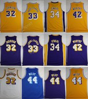 Throwback 32 Magic Johnson Jérsei Homens 33 Kareem Abdul Jabbar 42 Artest Digno 44 Jerry Oeste Basquete Jerseys 34 Shaquille ONeal O Neal