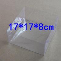 limpar caixas de pvc para doces venda por atacado-17 * 17 * 8 cm Transparente Claro PVC Boxes Favores Para Caixa De Doces De Plástico Retângulo Caixas de Presente Pacote ZA4520