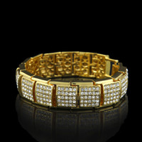 Wholesale Premium Tv - 2017 High Quality Premium Men's Luxury Simulated Diamond Gold  Silver Gun Fashion Bling Iced Out Bracelet High Promotion